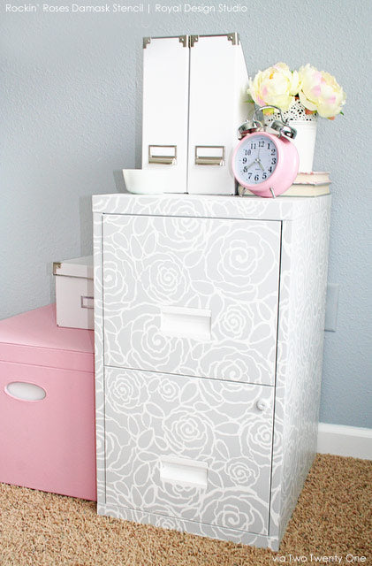 Stenciling on Unique Surfaces : Rockin' Roses  Damask Stencil on File Cabinets!