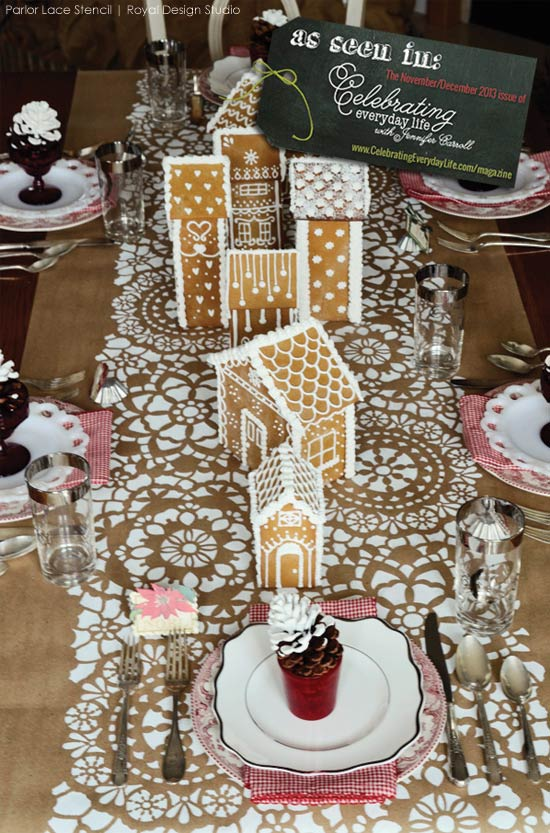A Winter Wonderland table setting with Royal Design Studio's Parlor Lace Stencil
