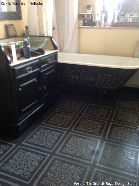 Floor Stencils Have This Tiled Bathroom Makeover Covered