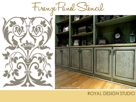 Amazing Artist Tiffany Alexander From Blank Canvas Studio Wanted To Add Special An  Artisan Detail To Cabinet Panels And Chose The Firenze Classic Panel Stencil  To ...