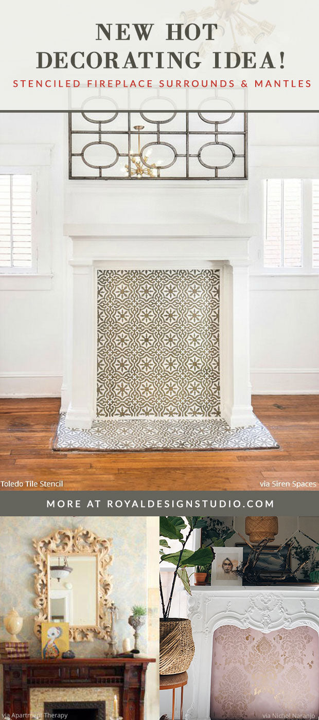 Hot Diy Decorating Idea Stencil Designs Fireplace