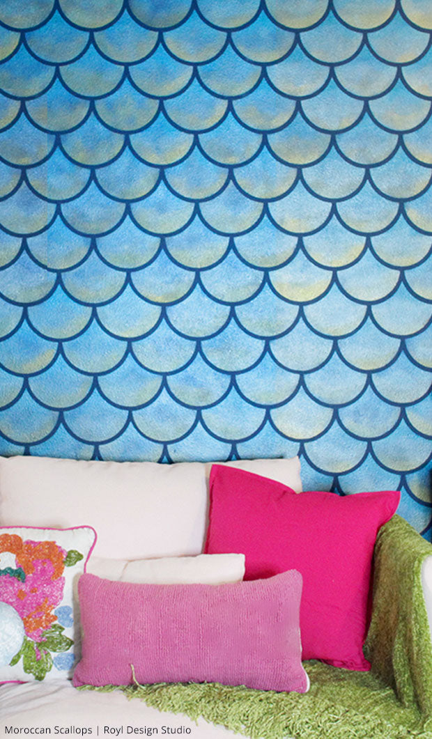 How to Stencil a Mermaid Fish Scales Wall - DIY Wallpaper Pattern