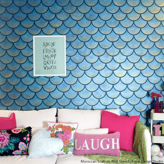 Mermaids & Wall Stencils: The Prettiest Decorating Craze - DIY Scallop Fish Scales Wall Mural Stencils from Royal Design Studio