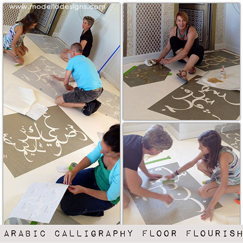Modello® masking stencils using abstract Arabic typography for a stenciled concrete floor