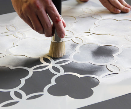 allover stenciling with a dry brush