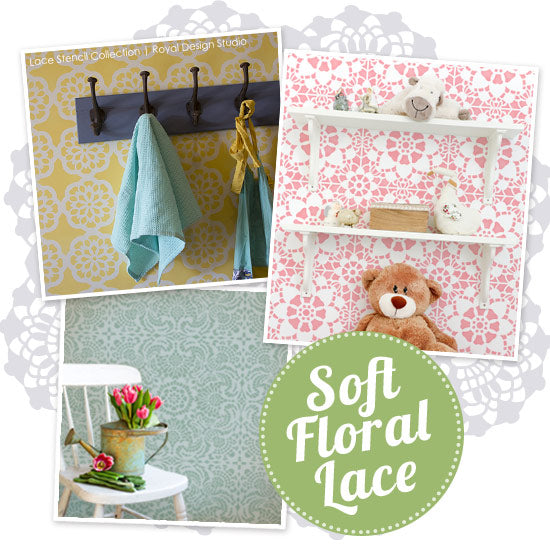 Floral Lace Stencils add a feminine touch to home decor