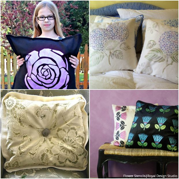 Stenciled Pillows for Every Style - Cute Flower Fabric Stencils by Royal Design Studio