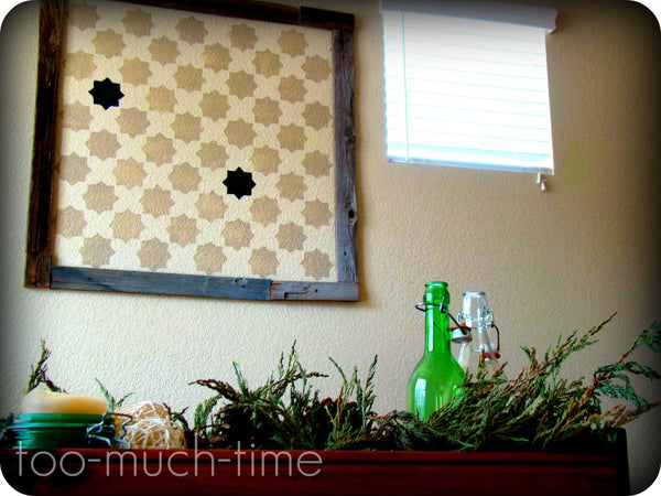 framed Moroccan pattern stencil on dining room wall