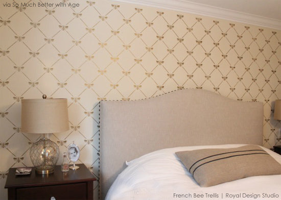 French Bee Trellis Wall Stencil | Royal Design Studio