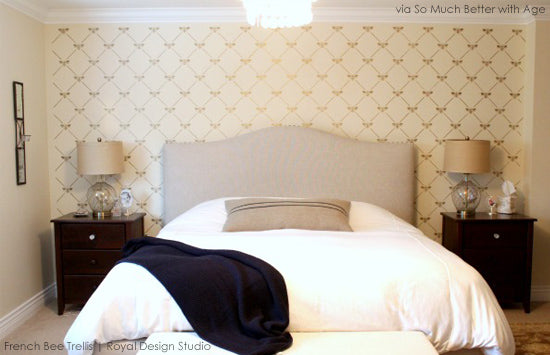 Stenciled Feature Wall Inspiration | French Bee Trellis from Royal Design Studio