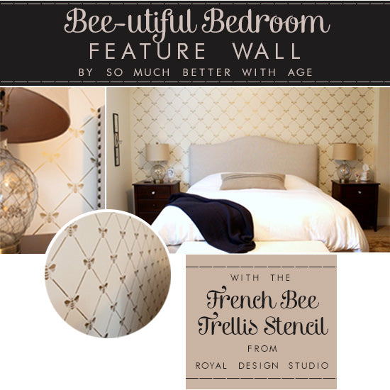 Beautiful Stenciled Wall with the French Bee Trellis Stencil | Royal Design Studio