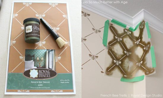 Stenciling Materials & Process | French Bee Trellis Stencil from Royal Design Studio