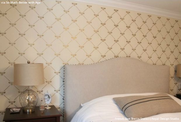 Stenciled Walls Strike Gold - 16 Metallic Gold Painted Room Makeover Ideas using Royal Design Studio Wall Stencils