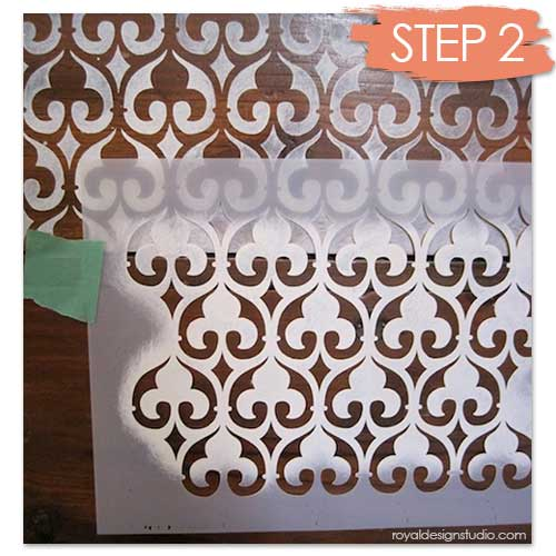Furniture stenciling how to with Moroccan stencil Moorish Fleur de Lis from Royal Design Studio stencils