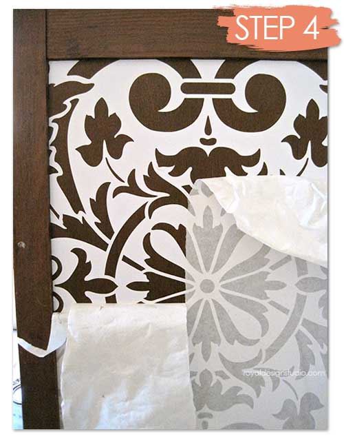 Stenciling furniture with a Modello vinyl stencil from Modello Designs - How To Paint Pattern on Wood Table