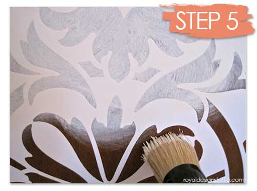 Stenciling a chest with a Modello vinyl stencil from Modello Designs