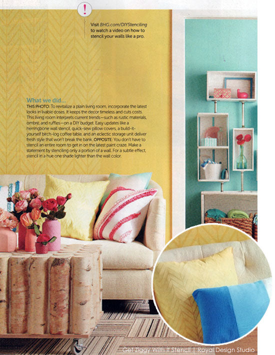 DIY Magazine Features Get Ziggy With It Stencil | Royal Design Studio