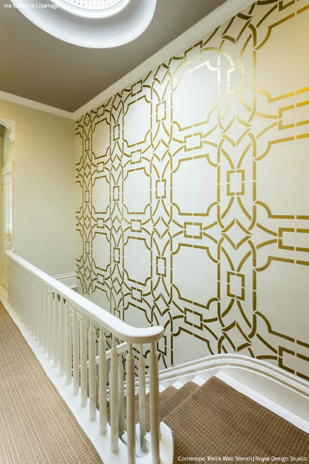Gold Wallpaper Wall Stencils Diy Ideas For Metallic Home