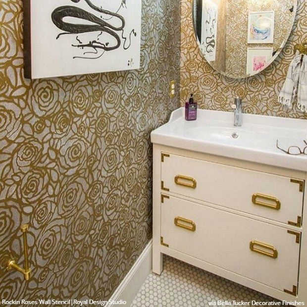 Wall Stencils: The Secret To Remodeling Your Bathroom On A Budget   18 DIY  Decor