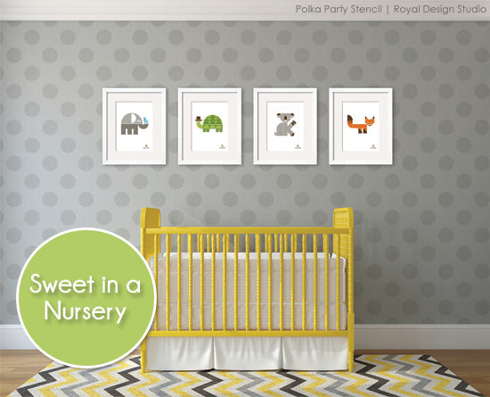 Polka Dot pattern stencil perfect for nurseries. Shown in warm gray colors | Royal Design Studio Stencils