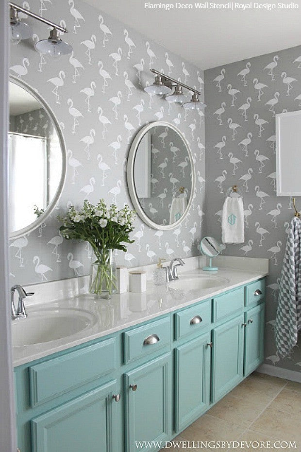 Gentil Wall Stencils: The Secret To Remodeling Your Bathroom On A Budget   18 DIY  Decor