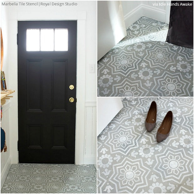 Painted tile floor stencils for painting 16 diy ideas for Super cheap flooring ideas