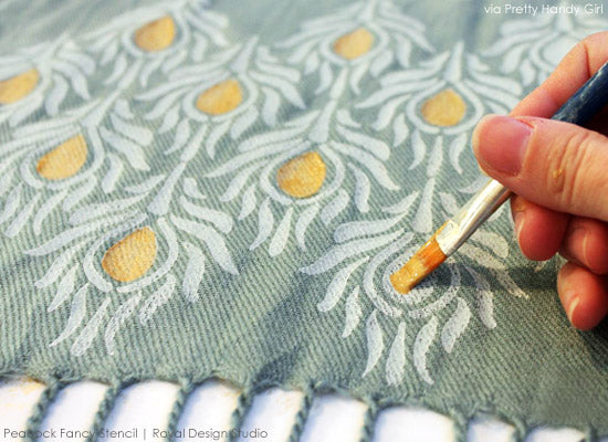 Painting Details on Stenciled Scarf | Peacock Fancy Stencil from Royal Design Studio