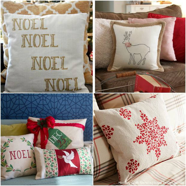 Stenciled Pillows for Every Style - Christmas Fabric Stencils by Royal Design Studio