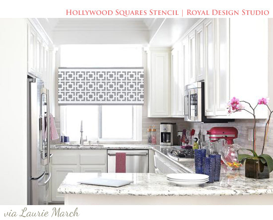 Stenciled Cornice Board with modern Hollywood Squares Stencil | Contemporary Stenciled Window Treatment Idea | Royal Design Studio