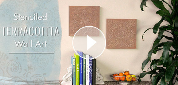 How to Stencil DIY Terracotta Wall Art Tiles
