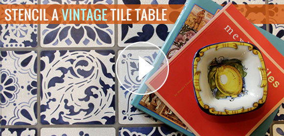 How to Stencil a Vintage Tile Table Top - Video Tutorial using Annie Sloan Chalk Paint and Royal Design Studio Tile Furniture Stencils