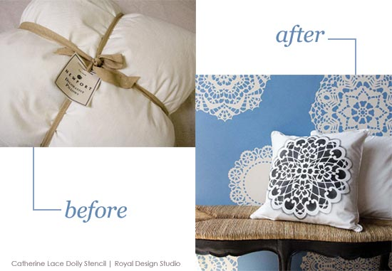 Before and After stenciling a lace doily stencil design on plain canvas pillow covers