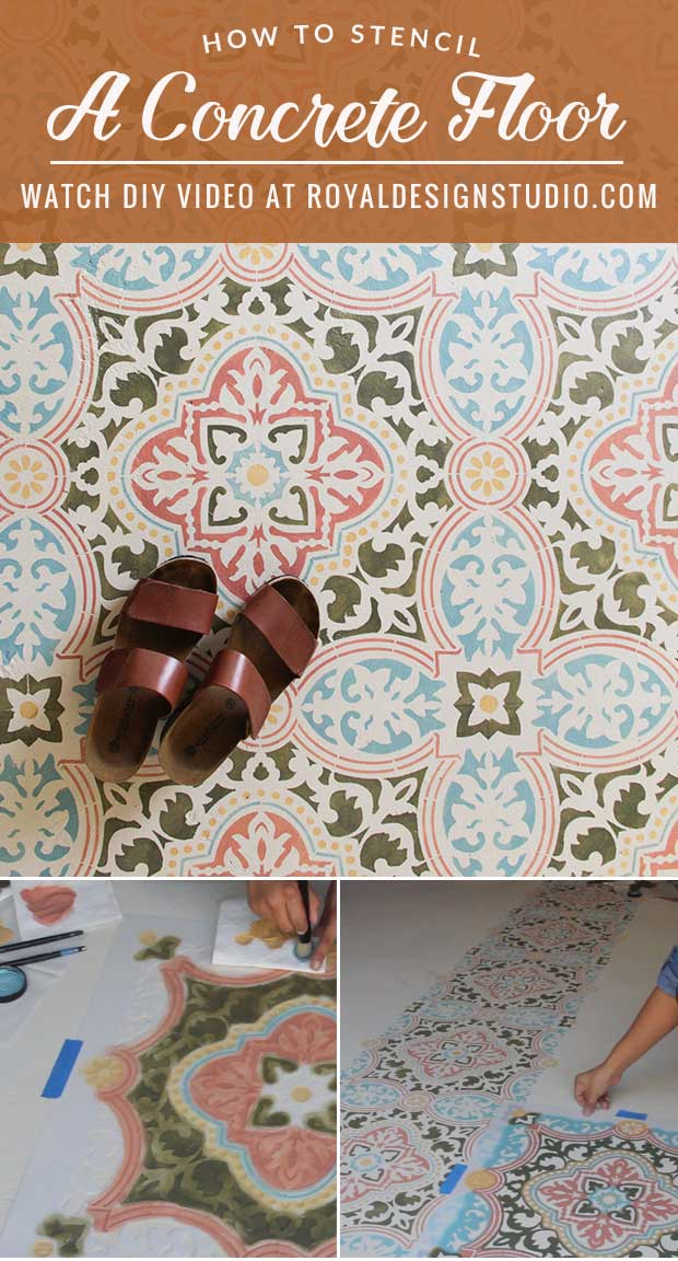 VIDEO! How to Stencil a Concrete Floor in 10 Easy Steps - Painted Floor Tutorial using Tile Stencils and Chalk Paint from Royal Design Studio