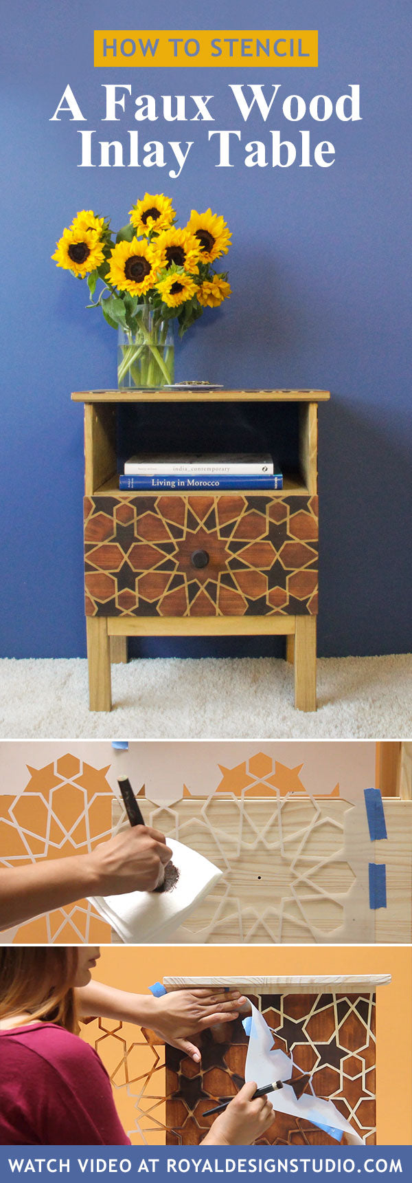 How To Stencil Amp Stain Furniture With A Diy Faux Wood