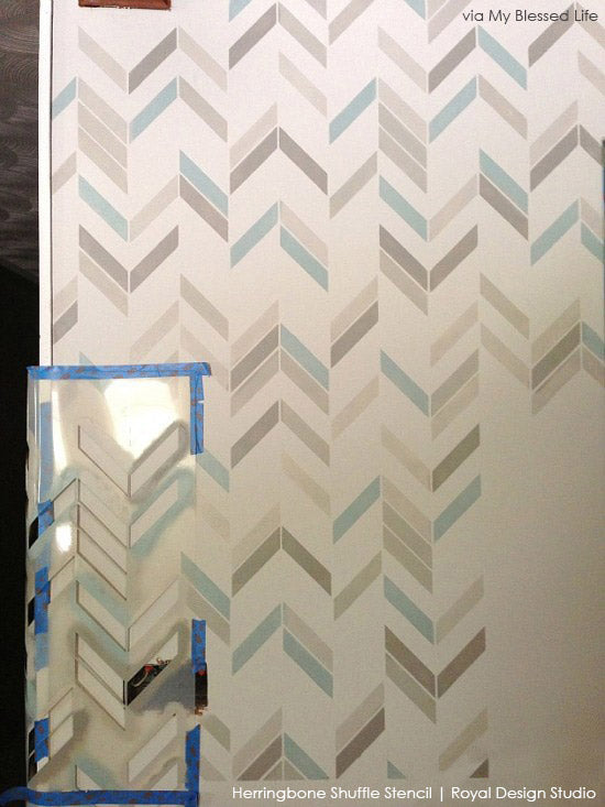 How to Stencil a Wall with Herringbone Stencil