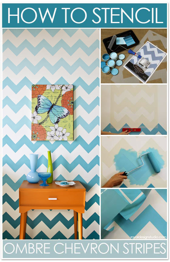 How to stencil chevron stripes with ombre pattern royal for How to make a chevron template
