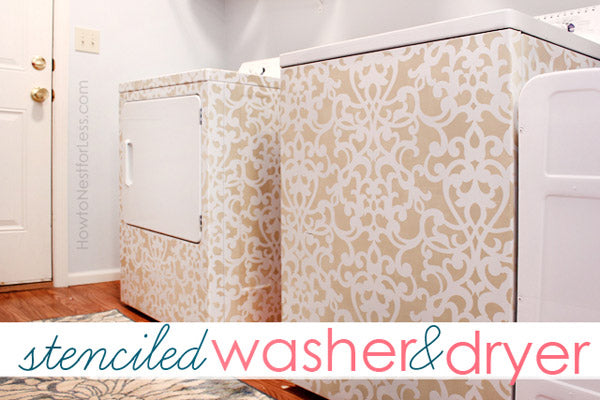 stenciled washer and dryer in laundry room
