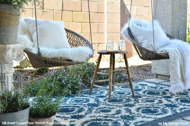 Floor Stencils Decorate a Vintage Farmhouse - DIY Decorating and Painting Ideas for Floor Tiles and Outdoor Rugs - Royal Design Studio Stencils