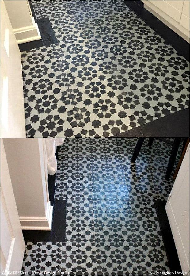 Paint Vinyl Linoleum With Floor Stencils 8 Diy Decor Ideas