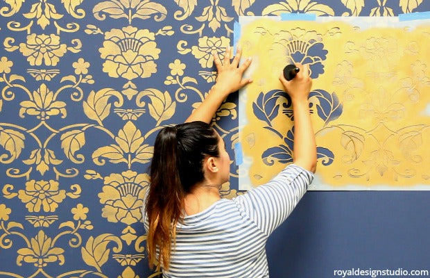 [VIDEO DIY Tutorial] The Complete Beginner's Guide to Wall Stenciling - Royal Design Studio Wall Stencils for Painting
