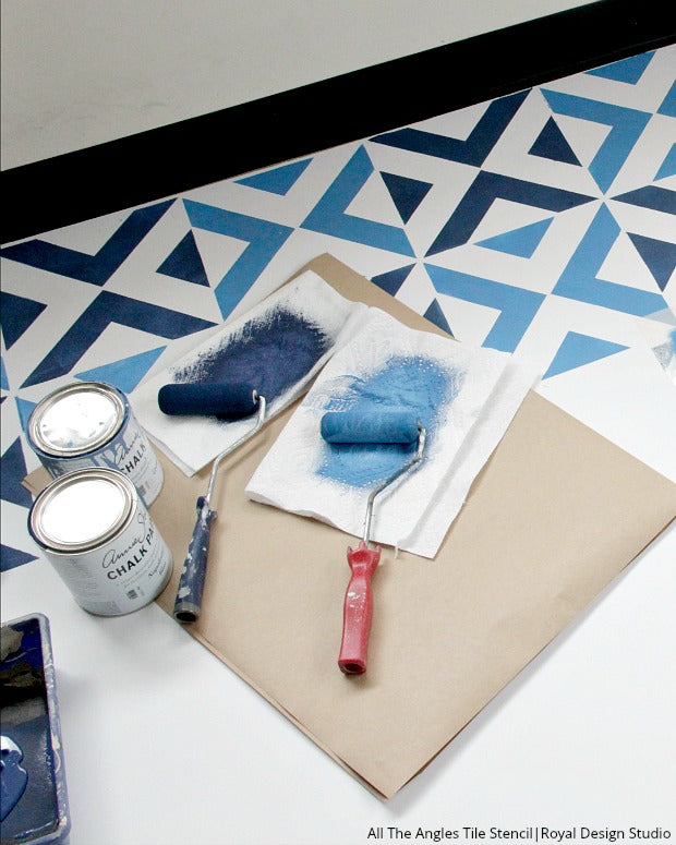 How to Stencil a Boho Blue Tile Floor - VIDEO TUTORIAL - Easy DIY Project Painting with Tile Stencils, Floor Stencils, Bohemian Stencils from Royal Design Studio
