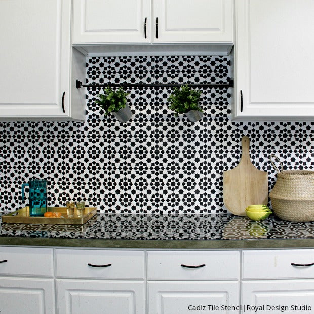 Everything You Need To Know How To Stencil A Kitchen Tile Backsplash Royal Design Studio Stencils