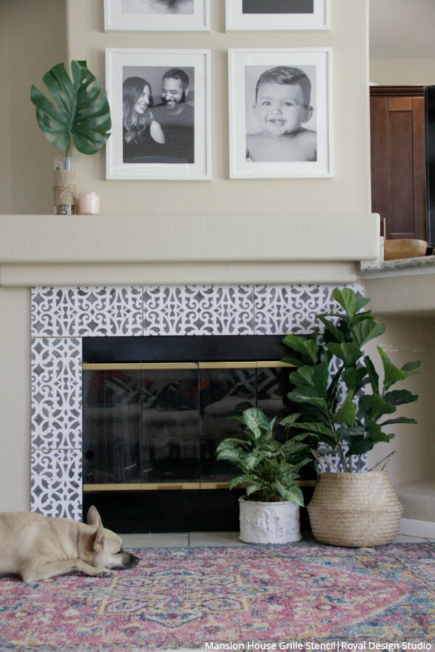 Hot Hack: How to Stencil Your Fireplace - Tile Fireplace Surround DIY Project - Painting Stencils from Royal Design Studio
