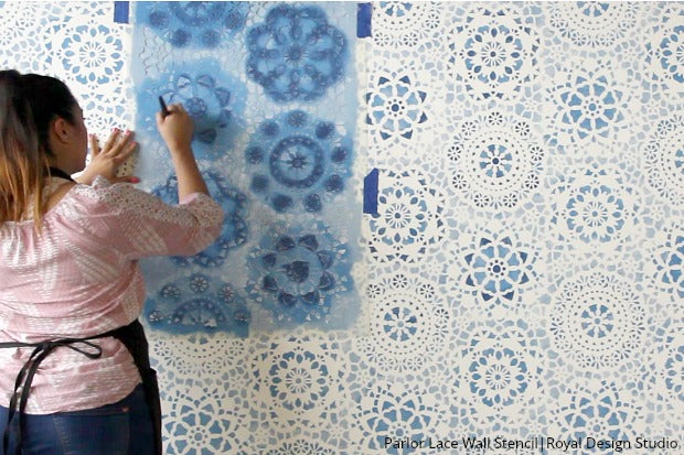 [VIDEO TUTORIAL] Paint Your Own DIY Indigo Blue Wallpaper Look with Large Lace Wall Stencils for Painting - Royal Design Studio