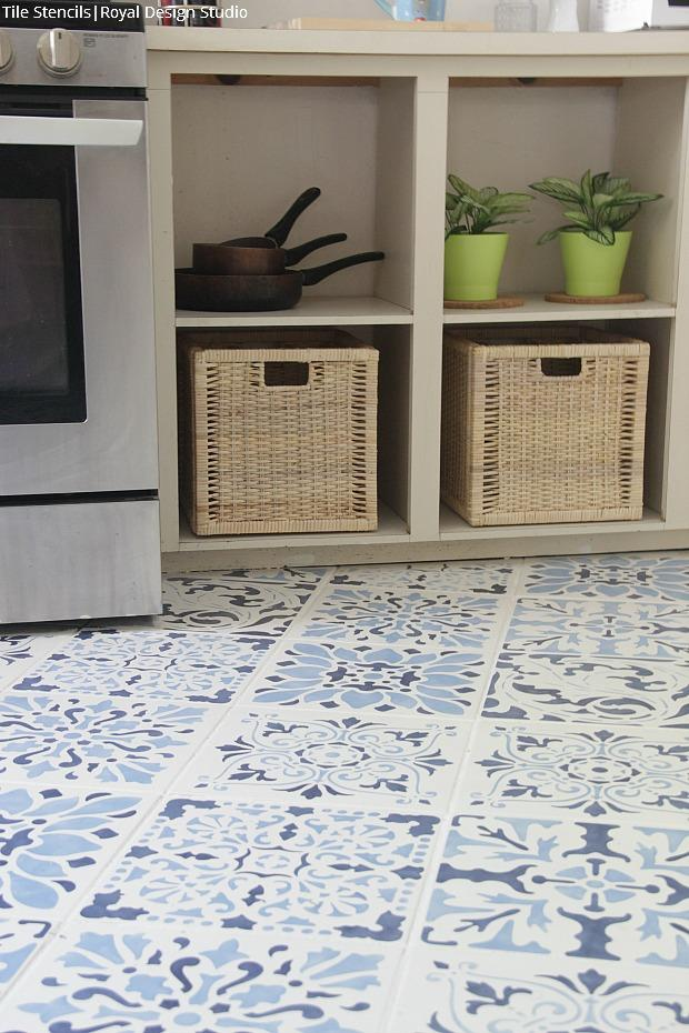 Insanely Gorgeous Kitchens with Tile Floor Stencils for Painting - DIY Decorating and Renovation Ideas - Royal Design Studio