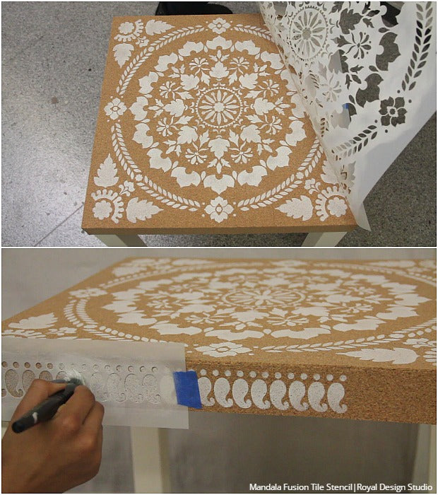 DIY Home Decor Ikea Hack: How to Stencil Furniture with Cork Sheets - VIDEO TUTORIAL by Royal Design Studio