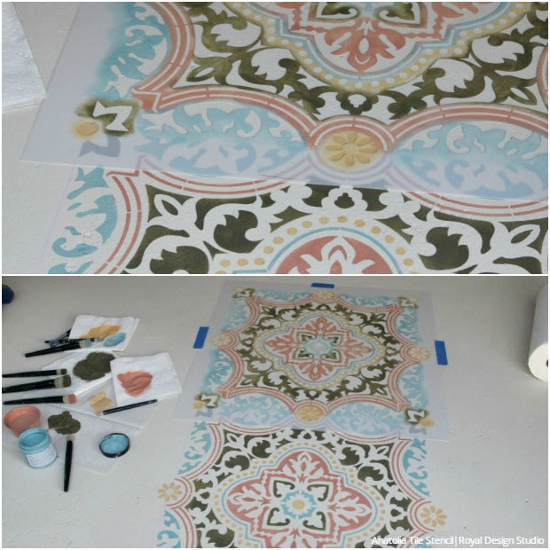 How To Stencil A Concrete Floor In 10 Easy Steps   Painted Floor Tutorial