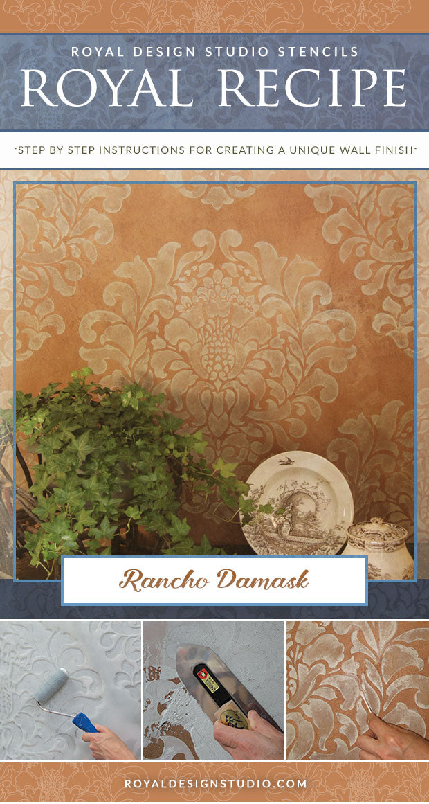 Royal Recipe from Royal Design Studio: How to Stencil Tutorial - Rustic Italian Damask Pattern Wall Stencils