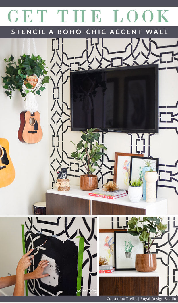 Get the Look: Stencil a Boho Chic Accent Wall with Modern Bold Graphic Wall Stencils