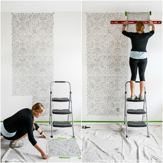 Shabby Chic Nursery Idea with Lace Wall Stencils from Royal Design Studio